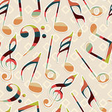 Abstract musical notes with seamless pattern. Royalty Free Stock Images
