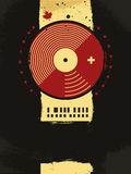 Abstract musical poster with vinyl circle Royalty Free Stock Photography