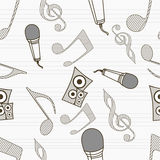 Abstract musical seamless pattern. Stock Image