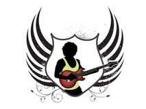 Abstract musical shield with guitar Stock Photography