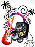 Abstract musical summer background with cocnut tre Royalty Free Stock Images
