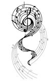 Abstract musical swirl with notes Royalty Free Stock Photo