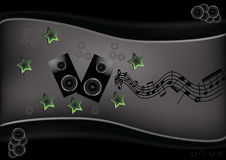 Abstract musical template. With notes and sound speakers Stock Photo