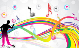 Abstract musical wave with shillouts Stock Photo