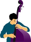 Abstract musician and bass royalty free illustration