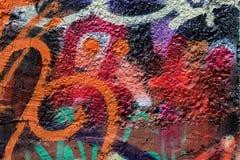 Abstract muurclose-up Detail van Graffiti Fragment voor achtergrond, modieus patroon, manierkleuren Royalty-vrije Stock Afbeeldingen