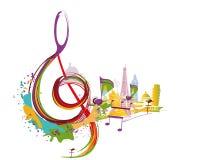 Abstract muzikaal ontwerp met een g-sleutel en gezichten royalty-vrije illustratie