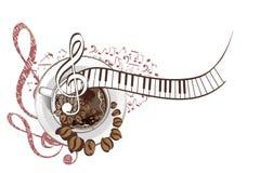 Abstract muzikaal ontwerp met een g-sleutel en koffiebonen Royalty-vrije Stock Fotografie