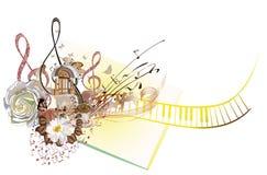 Abstract muzikaal ontwerp met een g-sleutel en koffiebonen stock illustratie