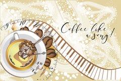Abstract muzikaal ontwerp met piano en een koffiekop Stock Foto