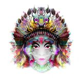 Abstract and mystic woman face in mask. Abstract mystic woman head in indian feathered headgear isolated on white background royalty free illustration