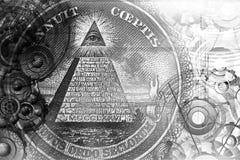 Abstract mystical background with Masonic symbols. stock photo