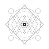 Abstract mystical geometry symbol. Vector linear alchemy, occult and philosophical sign. Royalty Free Stock Images