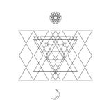 Abstract mystical geometry symbol. Vector linear alchemy, occult and philosophical sign. Royalty Free Stock Photos