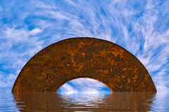 Abstract mystical semi-circular archway in the ocean with swirling white clouds Stock Images