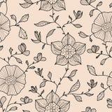 Abstract naadloos behang met bloemen Stock Foto