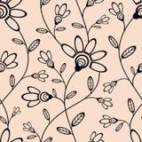 Abstract naadloos behang met bloemen Stock Afbeelding