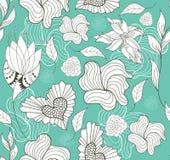 Abstract naadloos bloemen en hartenpatroon Stock Fotografie