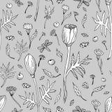 Abstract naadloos bloemenpatroon met tulpen, bladeren en kruiden Hand getrokken zwart-witte bloemen op grijze achtergrond stock illustratie