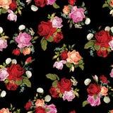 Abstract naadloos bloemenpatroon met wit, roze, rood en orang-oetan Royalty-vrije Stock Afbeelding