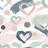Abstract naadloos elementen hipster patroon met borstelslagen, hart stock illustratie