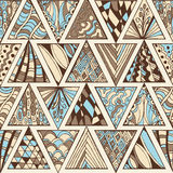 Abstract naadloos geometrisch hand-drawn patroon Royalty-vrije Stock Fotografie