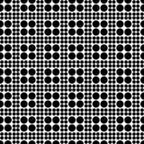 Abstract naadloos geruit patroon van cirkels van verschillende grootte Eenvoudige zwart-witte geometrische textuur Vector Stock Fotografie