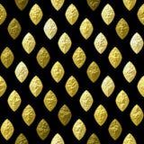 Abstract naadloos gouden, bruin en wit korrelhulppatroon op een zwarte achtergrond stock illustratie