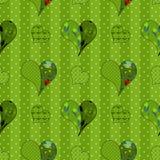 Abstract naadloos lapwerkpatroon met hartenachtergrond Stock Afbeeldingen