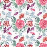 Abstract naadloos leuk bloemenpatroon rode, lilac bloemen op witte achtergrond Royalty-vrije Stock Foto's