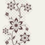 Abstract naadloos lint met bloemenelementen Stock Afbeeldingen