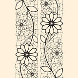 Abstract naadloos lint met bloemenpatroon Stock Afbeelding