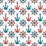 Abstract naadloos patroon als achtergrond met ankers en stuurwiel Vector illustratie Modieuze grafische textuur voor Stock Afbeelding