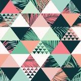 Abstract in naadloos patroon, geïllustreerde bloemen vector tropische bladeren De achtergrond van de behangdruk vector illustratie