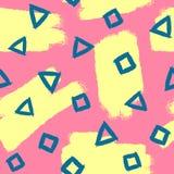 Abstract Naadloos Patroon Herhaalde borstelslagen en geometrische vormen Stock Fotografie