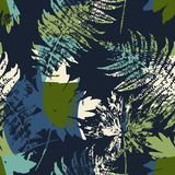 Abstract naadloos patroon met bladeren Stock Afbeeldingen
