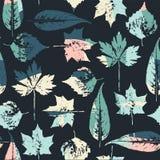 Abstract naadloos patroon met bladeren Stock Foto