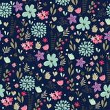 Abstract Naadloos patroon met bloemenachtergrond royalty-vrije illustratie