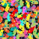 Abstract naadloos patroon met bont borstelslagen en cirkels royalty-vrije illustratie