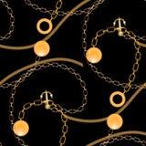 Abstract naadloos patroon met gouden kettingen, royalty-vrije illustratie