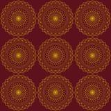 Abstract naadloos patroon met gouden rondes Donkerrode achtergrond Patroonmandala Royalty-vrije Stock Foto's