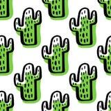 Abstract naadloos patroon met groene cactus Royalty-vrije Stock Afbeelding