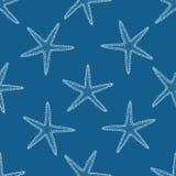 Abstract naadloos patroon met hand getrokken zeeschelpen Royalty-vrije Stock Foto