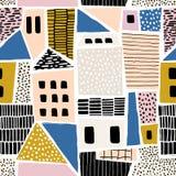 Abstract naadloos patroon met huizen met hand getrokken texturen en vormen Perfectioneer voor stof textiel, behang Vectorillustra royalty-vrije illustratie