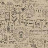 Abstract naadloos patroon met schetsen en nota's royalty-vrije illustratie