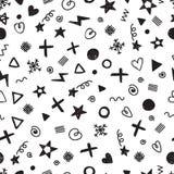 Abstract naadloos patroon met verschillende ontwerpelementen moderne modieuze textuur De partij van de verjaardag In hand getrokk Stock Fotografie