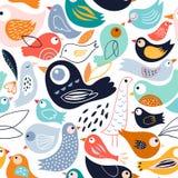 Abstract naadloos patroon met verschillende vogels royalty-vrije illustratie