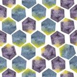 Abstract naadloos patroon met waterverfzeshoeken in gele, purpere en blauwe kleuren royalty-vrije illustratie