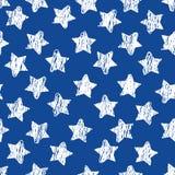 Abstract naadloos patroon met witte Schetssterren op blauw Geometrische achtergrond voor plaats, blog, stof Vector stock illustratie