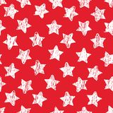 Abstract naadloos patroon met witte Schetssterren op rood Geometrische achtergrond voor plaats, blog, stof Vector stock illustratie